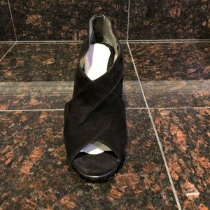 Aerosoles Black Suede Open Toe Heels Size 6